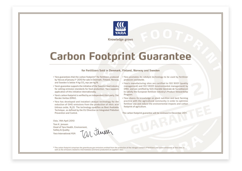 Yara Carbon footprint guarantee